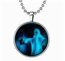 Punk Style Halloween Ghost Glow in the Dark Stainless Steel Necklace Pendant !
