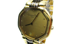 Auth Christian Dior 45-134 Gold Dial Gold Plated Band Quartz Women's Watch