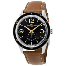 Bell And Ross Heritage Automatic Black Dial Golden Tan Leather Mens Watch
