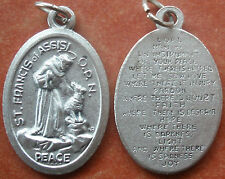Saint St. Francis of Assisi with Wolf Medal with Peace Prayer + Animal Lovers