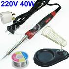 40W Electric Welding Soldering Iron Kit Tool Solder Wire Reel Stand Holder UK