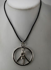 VTG SILVER PLATED BRASS FIST PUMP POWER PEACE SIGN CHARM ROPE NECKLACE NOS