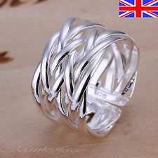 Ladies 925 Silver Adjustable Silver Ring Band Weave Thumb Finger Rings Gift Bag