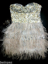 NWT Bebe gray silver sequin strapless isis feather bustier top dress M medium