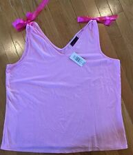 NWT NEW TORRID DOUBLE V-NECK TANK TOP PINK WITH BOWS PLUS SIZE 3