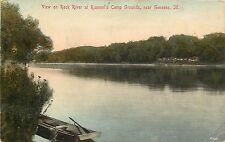 1907-1915 Postcard; Rock River at Rummel's Camp Grounds Geneseo IL Henry County