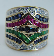 Estate 14K Yellow Gold Emerald Ruby Sapphire Diamond Wide Band Ring