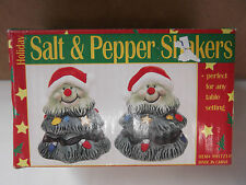 """SNOW TREES SALT & PEPPER SHAKERS WERE USED FOR DISPLAY ONLY 2 3/4""""IN TALL"""