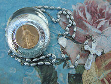 Antique Vintage Catholic METAL Rosary  Made in France w/ Virgin Mary case