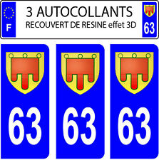 3 stickers plaque immatriculation auto DOMING 3D RESINE AUVERGNE FAGNON N° 63