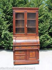 Walnut & Burl Victorian Eastlake Cylinder Roll Secretary Desk  Bookcase Top wKey