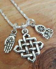 Good Life Karma Hamsa Lotus Buddhist Knot Dharma Wheel Silver Necklace 16-18""