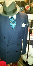 1940's Fred Astaire Double Breasted Vtg Med Blue, Flannel Weight Suit Mint!
