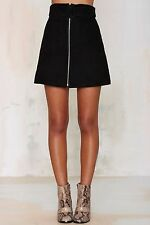 Nasty Gal Black Leather Suede A-Line Zip Up Mini Skirt XS BNWT