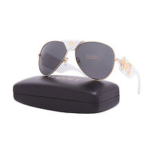 Versace 2150Q Medusa Sunglasses 1341/87 62 White Gold Leather Frame Grey Lenses