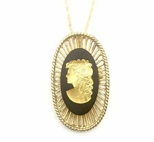 Authentic Wedgwood - Oval Cameo Pendant Necklace/Pin w/Gold Plate Wedgwood Chain