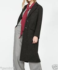 ZARA SIZE M 38 40 LANGER WOLLE MANTEL BLACK WOOL LONG STRAIGHT CUT COAT 7945/667