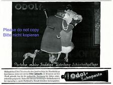 Toothpaste Odol German ad 1920 liftboy porter department store lady fur dog +