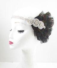 Schwarz & Silber Pfauenfeder Stirnband Kopfschmuck 1920s Great Gatsby Flapper