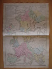 CARTE géographique FRANCE Mérovingienne  Empire de CHARLEMAGNE