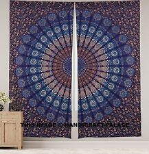 Peacock Indian Mandala Curtains, Tapestry Drapes, Window Treatment Bohemian Set