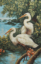 WALL JACQ. WOVEN TAPESTRY White Herons WILD LIFE BIRD ANIMAL PICTURE - EUROPEAN