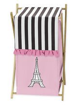 SWEET JOJO DESIGNS CLOTHES LAUNDRY HAMPER FOR PINK BLACK AND WHITE PARIS BEDDING