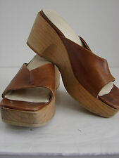 RARE Vintage GUESS Groovy Funky Hippie Chic Heavy Wood Leather Platform Shoes 8