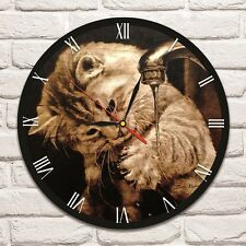 Cat with water design vinyl record wall clock home art shop office playroom 1