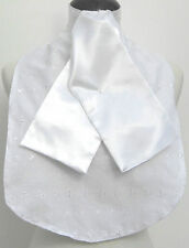 White Cotton Stock Bib with White Faux Silk Riding/Dressage/Hunting/Show Stock