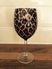 Single Deco patch Leopard Animal Print Design Wine Glass Browns & Black