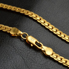 Fashion 18K 22in Gold Plated Stainless Steel Necklace Chain Women Men Jewelry