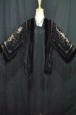 Art to Black Silk Burnout Velvet Fringe Kimono Opera Coat Duster Jacket New E023