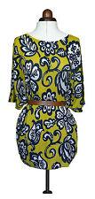 Boden tricot kaftan soie/lin mélange rrp £ 89 jaune/bleu marine imprimé taille med * réduit *