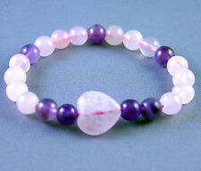 Zorbitz Live Love Hope Good Health Amethyst Rose Quartz Bracelet