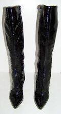 Womens Nine West Shiny Black Leather High Heel Boots 7.5 leather tall 7 1/2