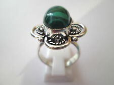 925 Silver Overlay Ring With Natural Malachite Cabochon Size Q (rg2231)