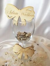 Personalised wooden wedding name place cards; bow; table decor