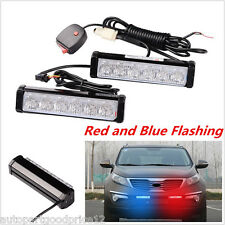 2x Car SUV Truck 12 LED Red Blue Warning Emergency Beacon Strobe Flash Light Bar