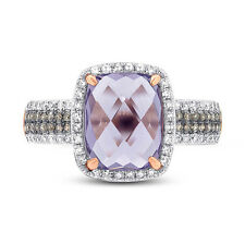 14K Rose Gold Cabochon Cushion Purple Amethyst Champagne and White Diamond Ring