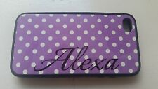 ALEXA iPhone 4S Case - Apple iPhone Purple with white dots
