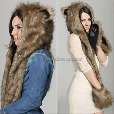Warm Winter Faux Animal Fur Hat Fluffy Plush Cap Hood Dint Scarf Shawl Glove Hot