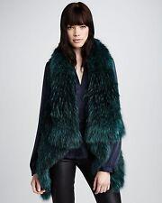 THEORY Ermy Raccoon Fur Vest CROPPED Winter Cardigan Stunner Piece In Burgundy M