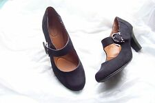 womens jaclyn smith alaina black faux suede mary jane heels shoes size 7