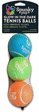 Spunky Pup Glow In The Dark Tennis Ball 3Pack Pet Dog Animal No Gas Non abrasive