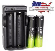 Two 18650 Genuine SkyWolfEye 5800mAh Rechargeable Batteries with Dual Charger!