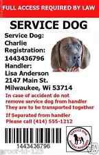 PTSD SERVICE DOG ADA ID CARD CUSTOM ANIMAL BADGE TAG PLASTIC PERSONALIZED 2 SIDE
