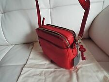 $129 New Fossil Leather Red Pink Mini Cross-Body Handbag Bag