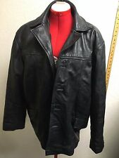 Oakwood Classic Mens M Black Leather Jacket Buttons Missing XL TF