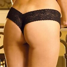 Lace v Shape Panty New Adult Womens Sexy Valentine Ligerie Black Medium Size